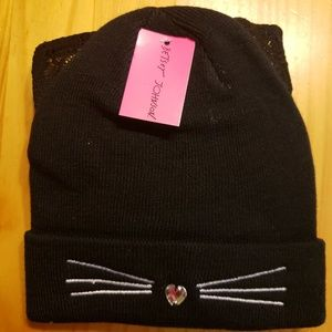 Betsey Johnson hat and gloves set
